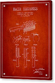 Hair Brush Patent From 1966 - Red Acrylic Print by Aged Pixel