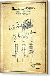 Hair Brush Patent From 1966 - Vintage Acrylic Print by Aged Pixel