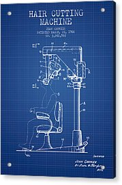 Hair Cutting Machine Patent From 1966 - Blueprint Acrylic Print by Aged Pixel