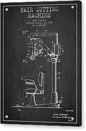 Hair Cutting Machine Patent From 1966 - Charcoal Acrylic Print by Aged Pixel