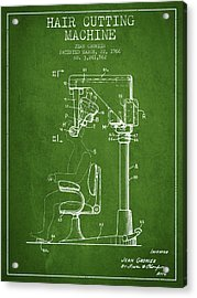 Hair Cutting Machine Patent From 1966 - Green Acrylic Print by Aged Pixel