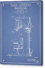 Hair Cutting Machine Patent From 1966 - Light Blue Acrylic Print by Aged Pixel
