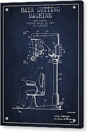 Hair Cutting Machine Patent From 1966 - Navy Blue Acrylic Print by Aged Pixel
