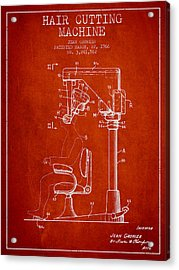 Hair Cutting Machine Patent From 1966 - Red Acrylic Print by Aged Pixel
