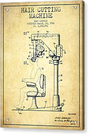 Hair Cutting Machine Patent From 1966 - Vintage Acrylic Print by Aged Pixel