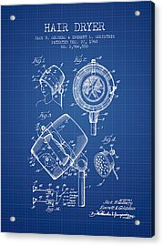 Hair Dryer Patent From 1960 - Blueprint Acrylic Print by Aged Pixel