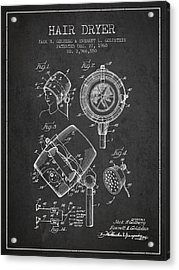 Hair Dryer Patent From 1960 - Charcoal Acrylic Print by Aged Pixel
