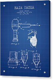 Hair Dryer Patent From 1974 - Blueprint Acrylic Print by Aged Pixel