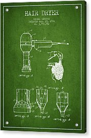 Hair Dryer Patent From 1974 - Green Acrylic Print by Aged Pixel