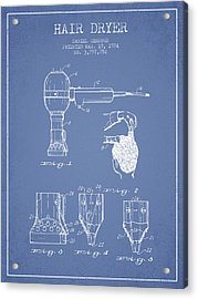 Hair Dryer Patent From 1974 - Light Blue Acrylic Print by Aged Pixel