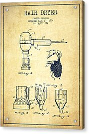 Hair Dryer Patent From 1974 - Vintage Acrylic Print by Aged Pixel