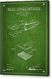 Hair Straightener Patent From 1909 - Green Acrylic Print by Aged Pixel