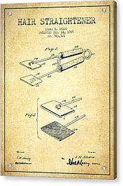 Hair Straightener Patent From 1909 - Vintage Acrylic Print by Aged Pixel