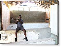 Haitian Boy Plays Trumpet Acrylic Print by Jim Wright