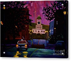 Halifax Night Patrol And Town Clock Acrylic Print by John Malone