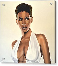Halle Berry Painting Acrylic Print by Paul Meijering
