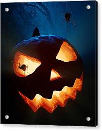 Halloween Pumpkin And Spiders Acrylic Print by Johan Swanepoel