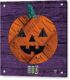 Halloween Pumpkin Holiday Boo License Plate Art Acrylic Print by Design Turnpike