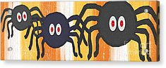 Halloween Spiders Sign Acrylic Print by Linda Woods