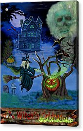Halloween Witch's Coldron Acrylic Print by Glenn Holbrook