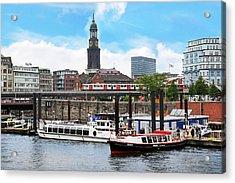 Hamburg, Germany, Tour Boats Docked Acrylic Print by Miva Stock