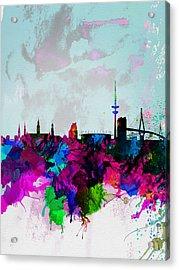 Hamburg Watercolor Skyline Acrylic Print by Naxart Studio