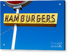 Hamburgers Old Neon Sign Acrylic Print by Edward Fielding