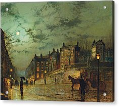 Hampstead Hill, Looking Down Heath Acrylic Print by John Atkinson Grimshaw