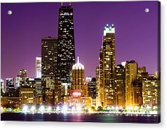 Hancock Building At Night In Chicago Acrylic Print by Paul Velgos