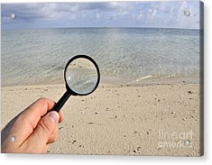 Hand Holding A Magnifying Glass Acrylic Print by Sami Sarkis