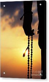 Hand Holding Rudraksha Beads Acrylic Print by Tim Gainey
