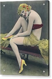 Hand Tinted Photo Of A Woman Acrylic Print by Underwood Archives