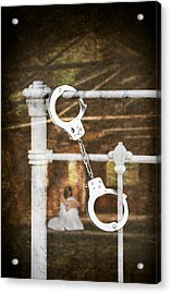 Handcuffs On Bed Acrylic Print by Amanda And Christopher Elwell