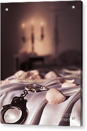 Handcuffs Ropes And Rose Petals On Bed Bdsm Sex Romantic Concept Acrylic Print by Oleksiy Maksymenko