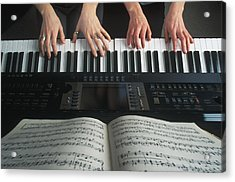 Hands On Keyboard Acrylic Print by Kelly Redinger