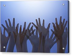 Hands Raised In Worship Acrylic Print by Colette Scharf