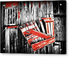 Hanging By A Few Nails Bw Acrylic Print by Julie Hamilton