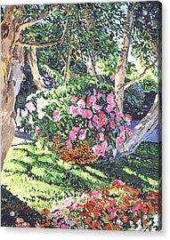 Hanging Flower Basket Acrylic Print by David Lloyd Glover