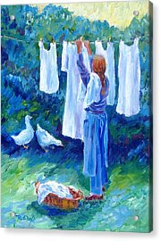 Hanging The Whites  Acrylic Print by Trudi Doyle