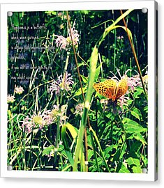 Happiness Is A Butterfly Acrylic Print by Poetry and Art