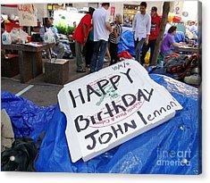Happy Birthday John Lennon Acrylic Print by Ed Weidman