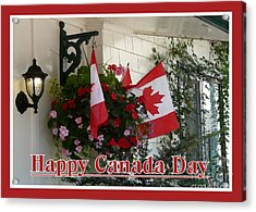 Happy Canada Day Floral Acrylic Print by Avis  Noelle