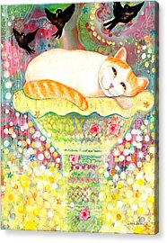 Fanciful Cat Acrylic Print featuring the painting Catbird Dreamin by Deborah Burow