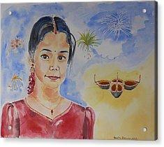 Happy Diwali  Acrylic Print by Geeta Biswas