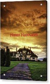 Happy Halloween Fiery Castle Acrylic Print by Eti Reid