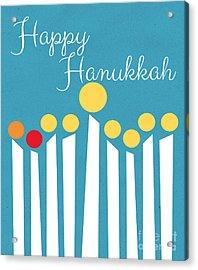 Happy Hanukkah Menorah Card Acrylic Print by Linda Woods