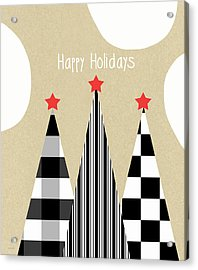 Happy Holidays With Black And White Trees Acrylic Print by Linda Woods
