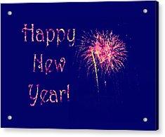 Happy New Year Fireworks Acrylic Print by Marianne Campolongo