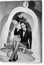 Happy New Year Woman Acrylic Print by Underwood Archives