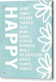 Happy Things Blue Acrylic Print by Linda Woods
